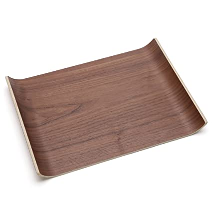 CJH Bandeja grande de madera maciza Bandeja de té de vidrio de estilo europeo Bandeja de