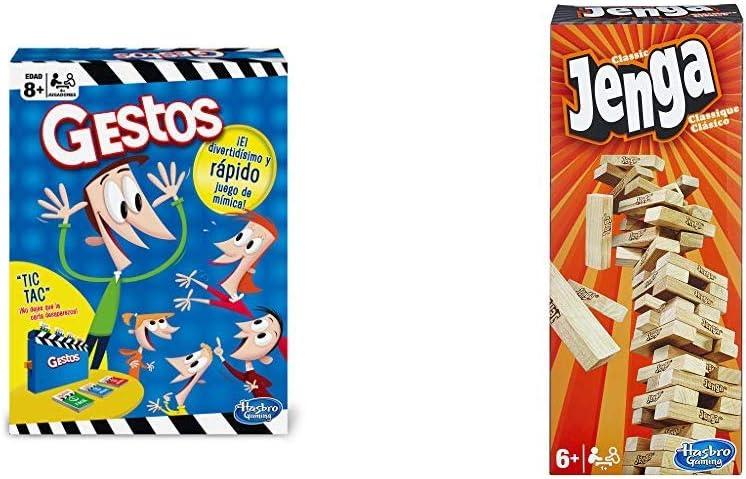 Hasbro Gaming Gestos (Versión Española) (B0638105) + Jenga Classic, única (A2120EU4): Amazon.es: Juguetes y juegos