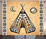 Tribal Curtains Indian Tent with Pagan Symbols Cultural Unique Bohemian Free Spirit Design Living Room Bedroom Window Drapes 2 Panel Set Light Coffee Brown