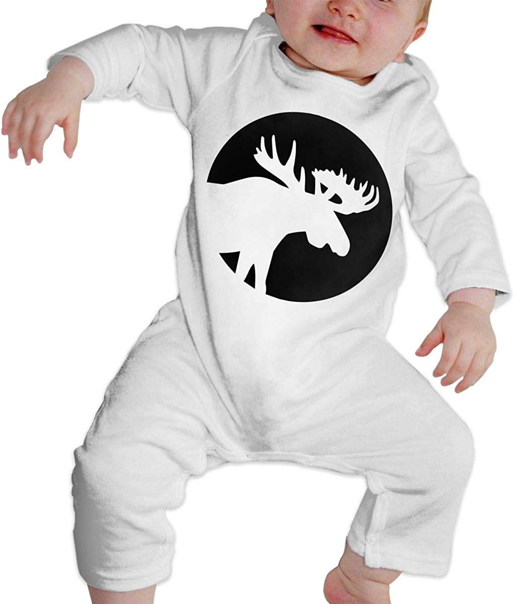 Moose Silhouette Moon Printed Newborn Baby One-Piece Suit Long Sleeve Rompers White