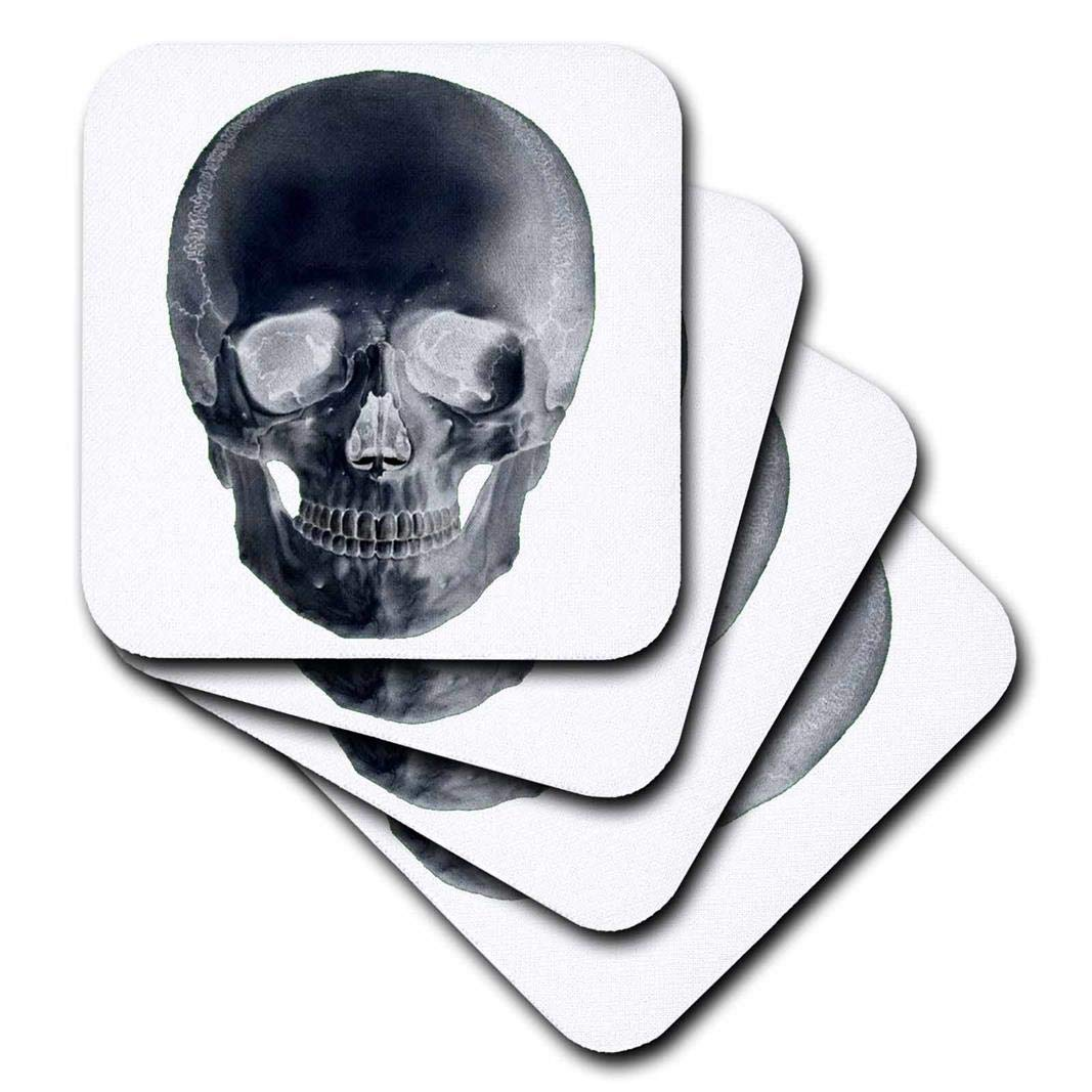 3dRose CST_29030_1 Skull in Negative Soft Coasters, Set of 4