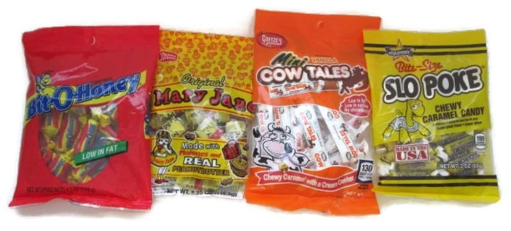 Amazon.com : Chewy Caramel Lovers Candy, Bit-o-honey, Slo-poke, Mini Cow Tales, and Mary Janes, Bundle of (4) Items. : Grocery & Gourmet Food