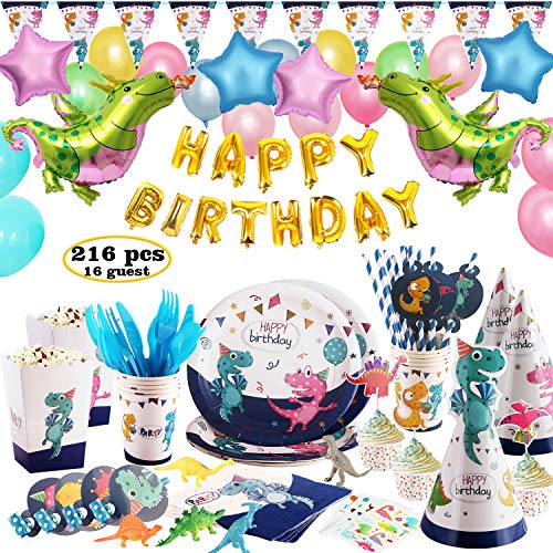 Dinosaur Party Supplies, 216 pcs Dinosaur Themed Birthday Party Supplies Favors - including Balloons, Tablecover, Toys, Tattoo, Hats, Whistles, Banner, Cutlery Set, Cups, Straws, Popcorn Boxes, Cupcake Liners & Toppers - Serves 16 Guests]()