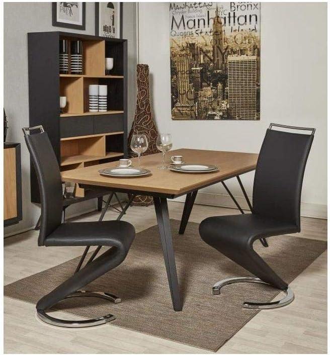 49 de manger salle noir L 61 chaises simili SIDNEY Revetement Lot 5 x de métal cm P a Contemporain 2 en wZTkuiOPX