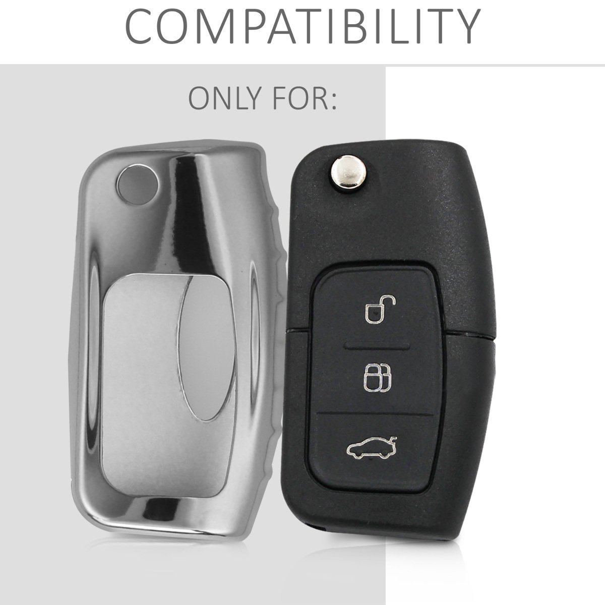 kwmobile Car Key Cover for Ford Rose Gold Matte Soft TPU Silicone Protective Key Fob Cover for Ford 3 Button Car Flip Key