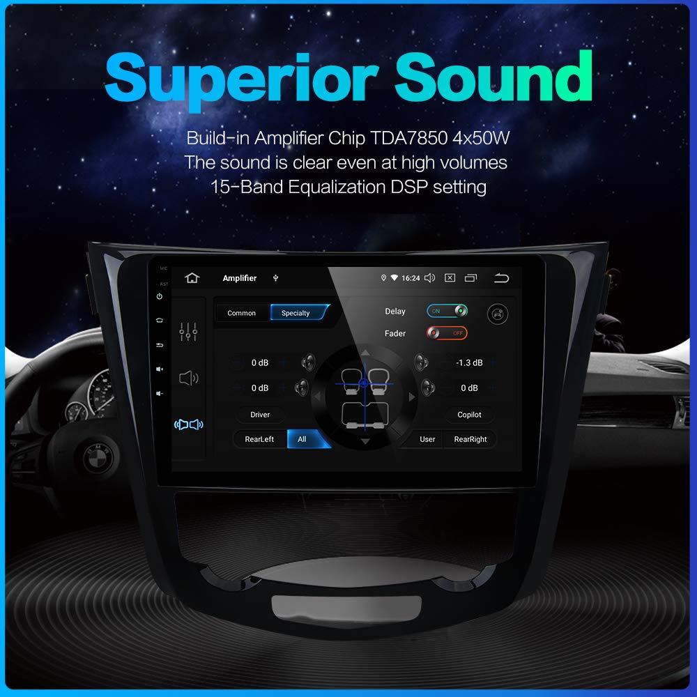 Dasaita Autoradio Android 9.0 1 DIN 4G RAM 32 G ROM pour Nissan X-Trail Qashqai j11 Rouge 2014 2015 2016 2017 2018 Autoradio Bluetooth Support GPS Volant Commande au Volant 4G Cam/éra de recul USB
