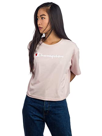 58e082c05ee9 Image Unavailable. Image not available for. Color: Champion Women's Crew  Neck Cropped Tshirt ...