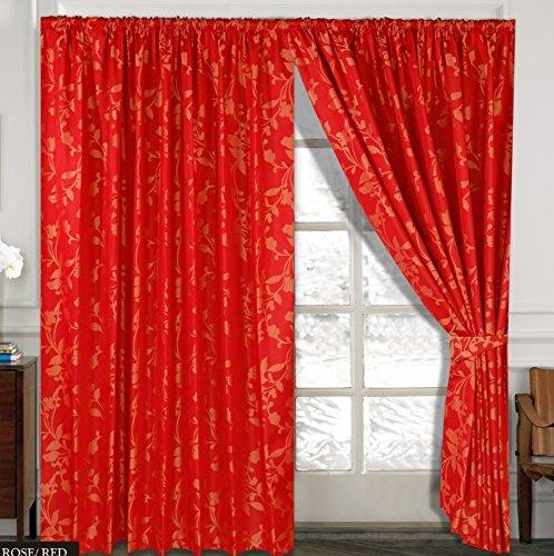 Rose Vorhange Ornament Barock Rot Vorhänge mit Kräuselband