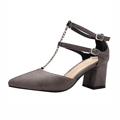 Agodor Damen High Heels T-Spange Sandalen mit Schnalle und Blockabsatz Spitze Riemchen Pumps Elegant Schuhe