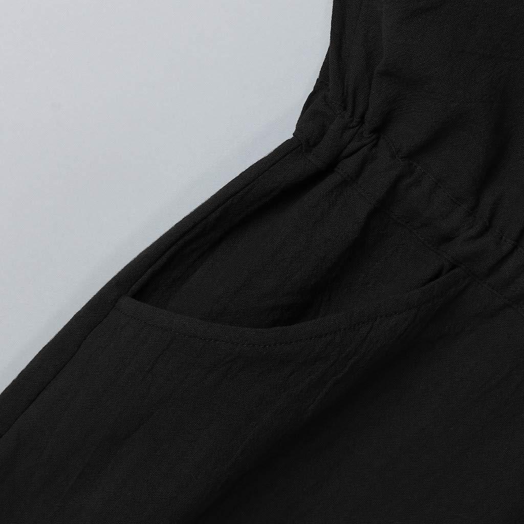 Amofine - Vestido de Verano para Mujer, Suelto, de Lino, Cuello en ...