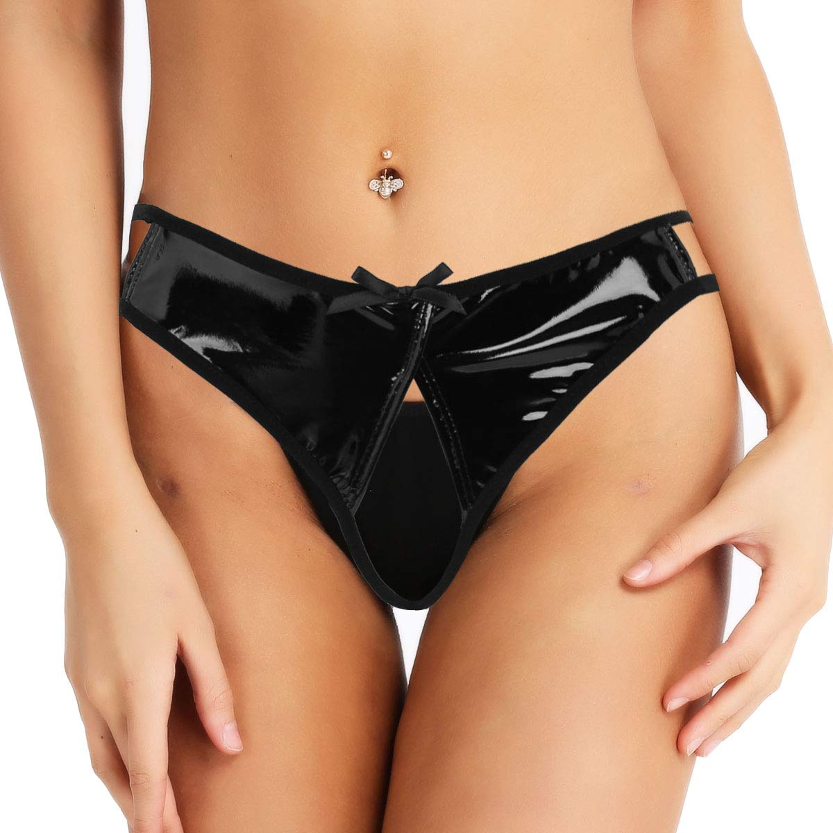 Freebily Women PVC Leather Wet Look Open Crotch High Cut Mini Briefs Panties Underwear