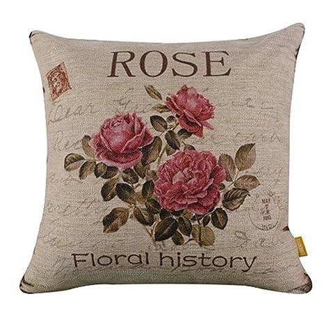 SODIAL Flor Vintage/Decoracion de Lino cojin de Almohada ...