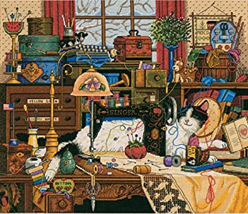 """Gold Collection Maggie The Messmaker Counted Cross Stitch Ki-14/""""X12/"""" 18 Count"""