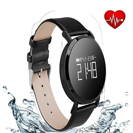 Hangang Reloj Inteligente de Ejercicios Libres Podómetro Monitorización del sueño Recordatorio sedentario Frecuencia cardíaca Presión Arterial