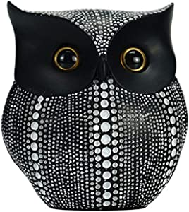Mornenjoy Owl Statue Decor Resin Owl Figurines for Home Decor Living Room Bedroom Bookself Office Mantel Buhos Decoration Home Elegant Polka Dot Owl Statues and Figurines (Black Owl)