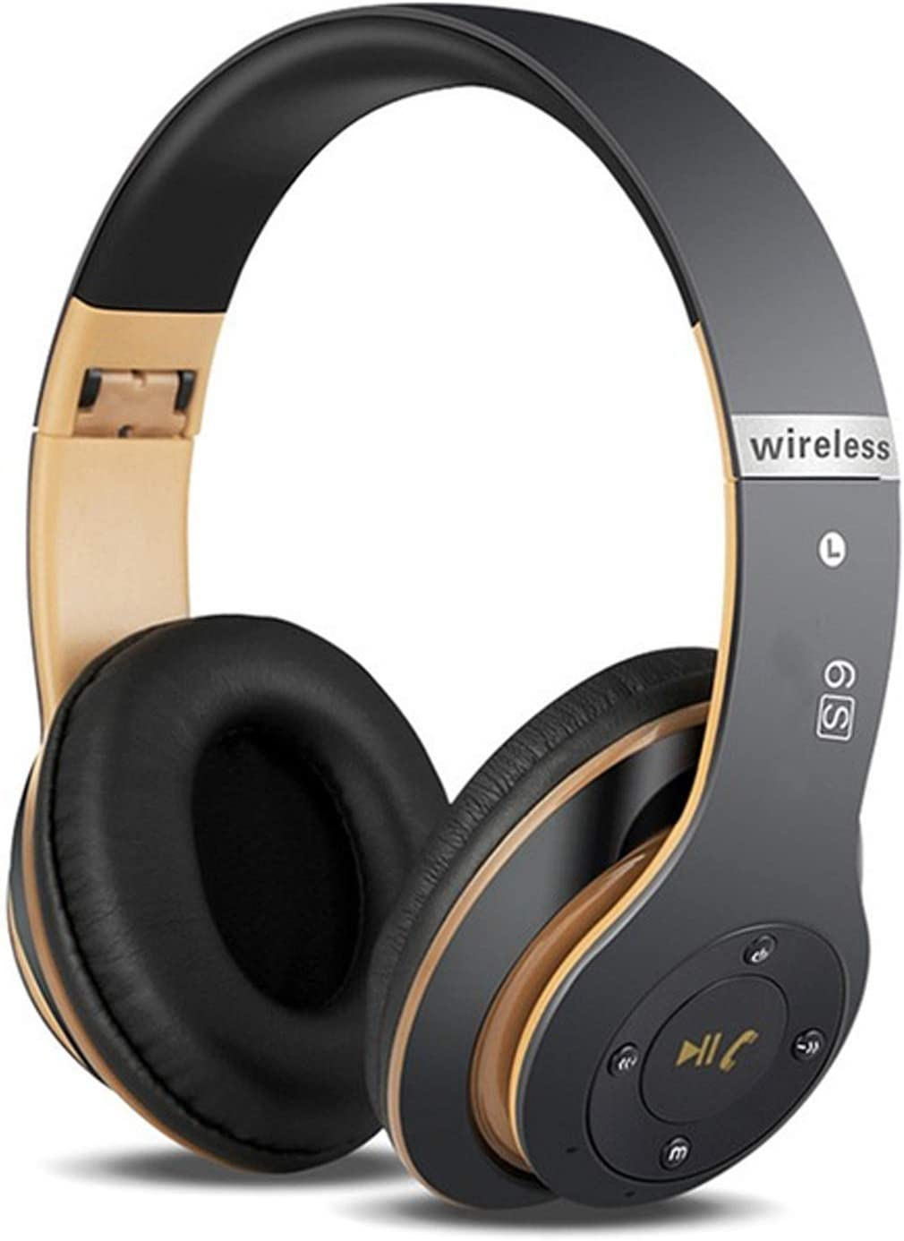 6S Wireless Headphones Over Ear,Noise Cancelling Foldable Wireless Stereo Headsets Earbuds with Built-in Mic, Micro SD TF, FM for iPhone Samsung iPad PC Black Gold