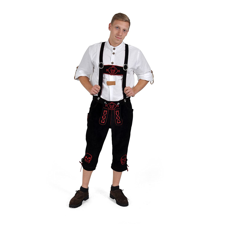 Trachten Lederhose Herren trendige Zombie Echtleder Kniebundhose fürs Oktoberfest - 46