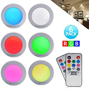 GreeSuit Battery Powered LED Puck Lights Under Cabinet LED Lights Wireless Remote Control Brightness Adjustable LED Puck Cupboard Light, Multi Color LED Accent Lights Battery Powered (6pack)