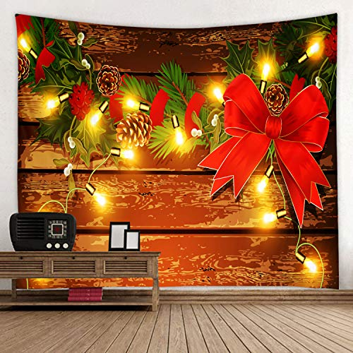 Christmas Wooden Board with Red Bow Print Decorative Throw Fabric Tapestry Wall Hanging Art Decor for Living Room and Bedroom 91 x 71 inches