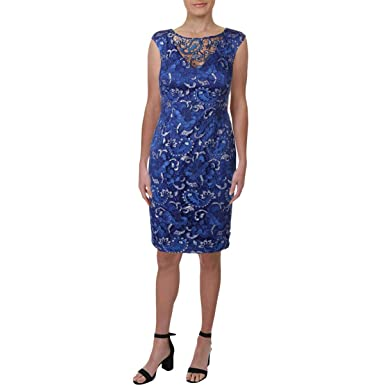8633aac04b91 Adrianna Papell Women's Sequin Lace Cap Sleeve Sheath Dress Blue Sapphire  Dress at Amazon Women's Clothing store: