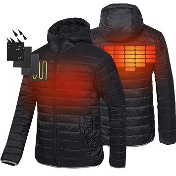 CONQUECO Hombre Chaqueta Calefactable Abrigo Calefactable con Batería y Cargador: Amazon.es: Deportes y aire libre