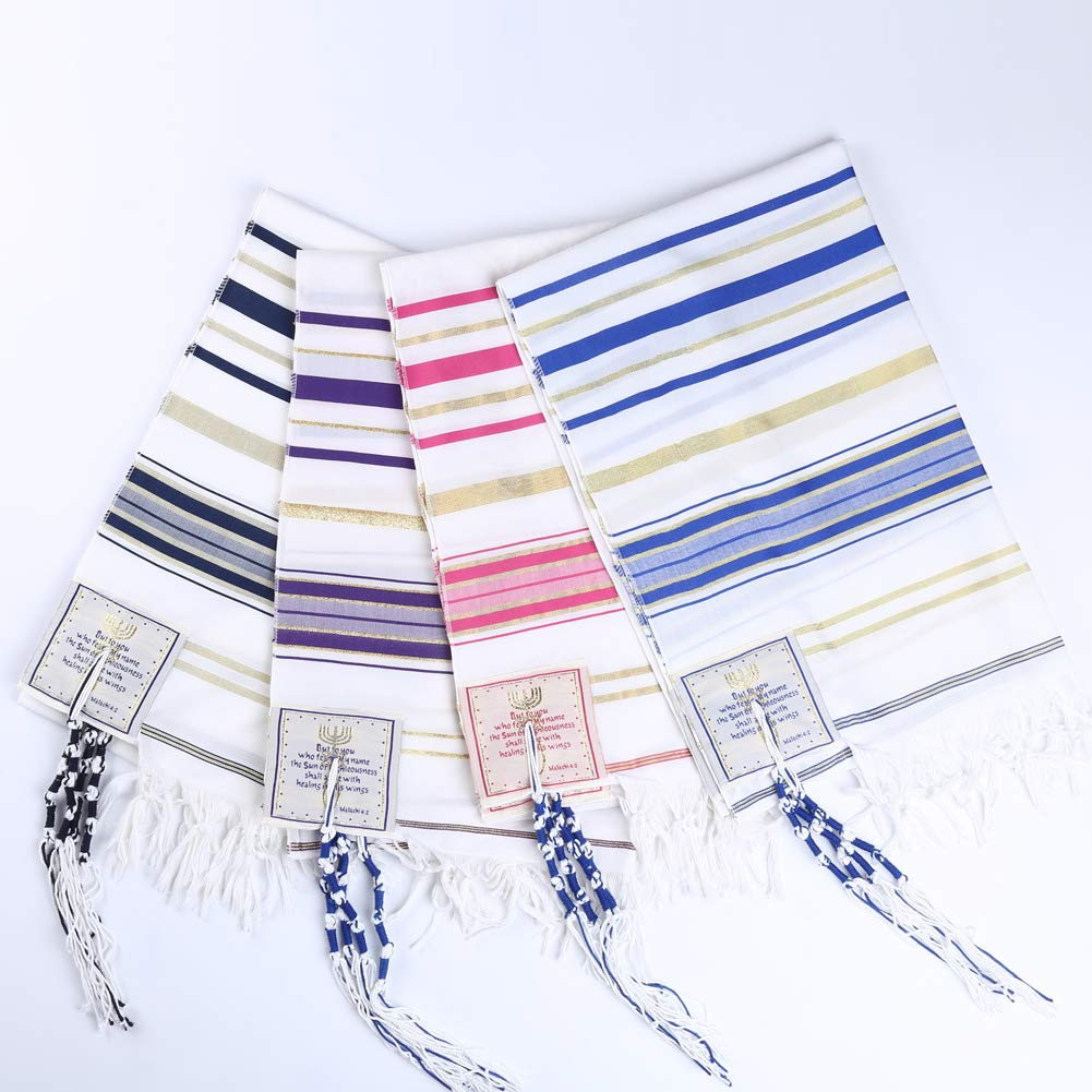 4pcs Pack Four colors packing Messianic Tallit prayer shawl 72''X22'' by Star Gifts by Star Gifts
