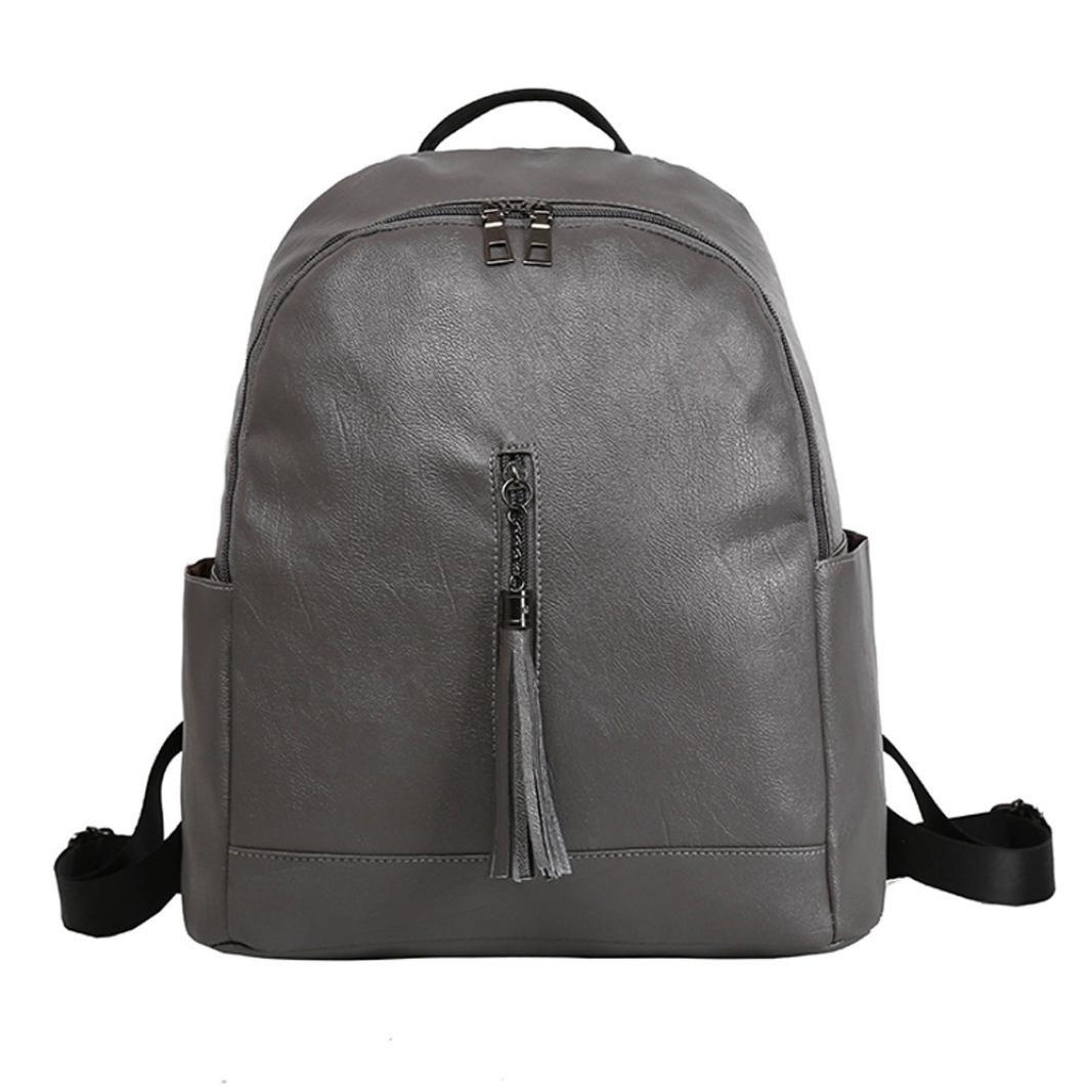 DDLBiz Women Girls Leather Tassel Purse Backpack Fashion Travel School Bag Shoulder Bags Satchel (Grey)