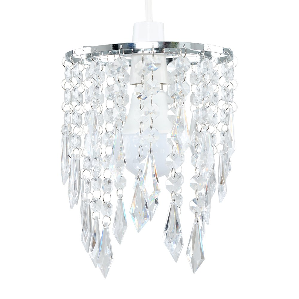Minisun Elegant Chandelier Design Ceiling Pendant Light Shade With Beautiful Clear Acrylic Jewel Effect Droplets