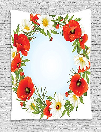 Supersoft Fleece Throw Blanket Ladybugsations Collection Camomile and Poppy Frame in the Shape of Circle Love Celebration Event Daisy Image Red (Daisy Duke Fancy Dress)