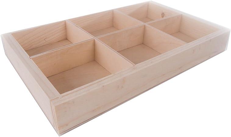 SEARCHBOX Caja de madera lisa con separadores/6 compartimentos/sin acabado/27,5 x 18,8 x 3,5 cm (10,82 x 7,40 x 1,37 pulgadas): Amazon.es: Hogar