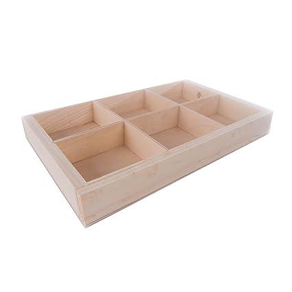 SEARCHBOX Caja de Madera Lisa con separadores/6 Compartimentos/sin acabado/27,