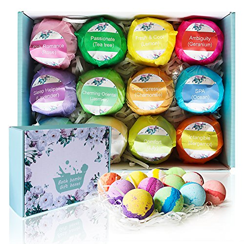 (U2C Bath Bombs Gift Set-12 Natural Vegan Essential Oils Bath Bomb Kit-Lush Bubble Fizzies Spa-Handmade Dry Skin Moisturize, Mothers Day Gifts Best Gifts For Birthday, Women, Wife, Teen Girls, Kids)