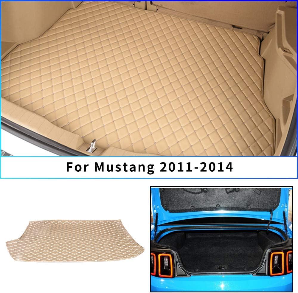 Tuqiang Tapis de Coffre en Cuir pour Mustang 2015-2019 Imperm/éable Tapis de Coffre Protection Cargo Liner Rouge