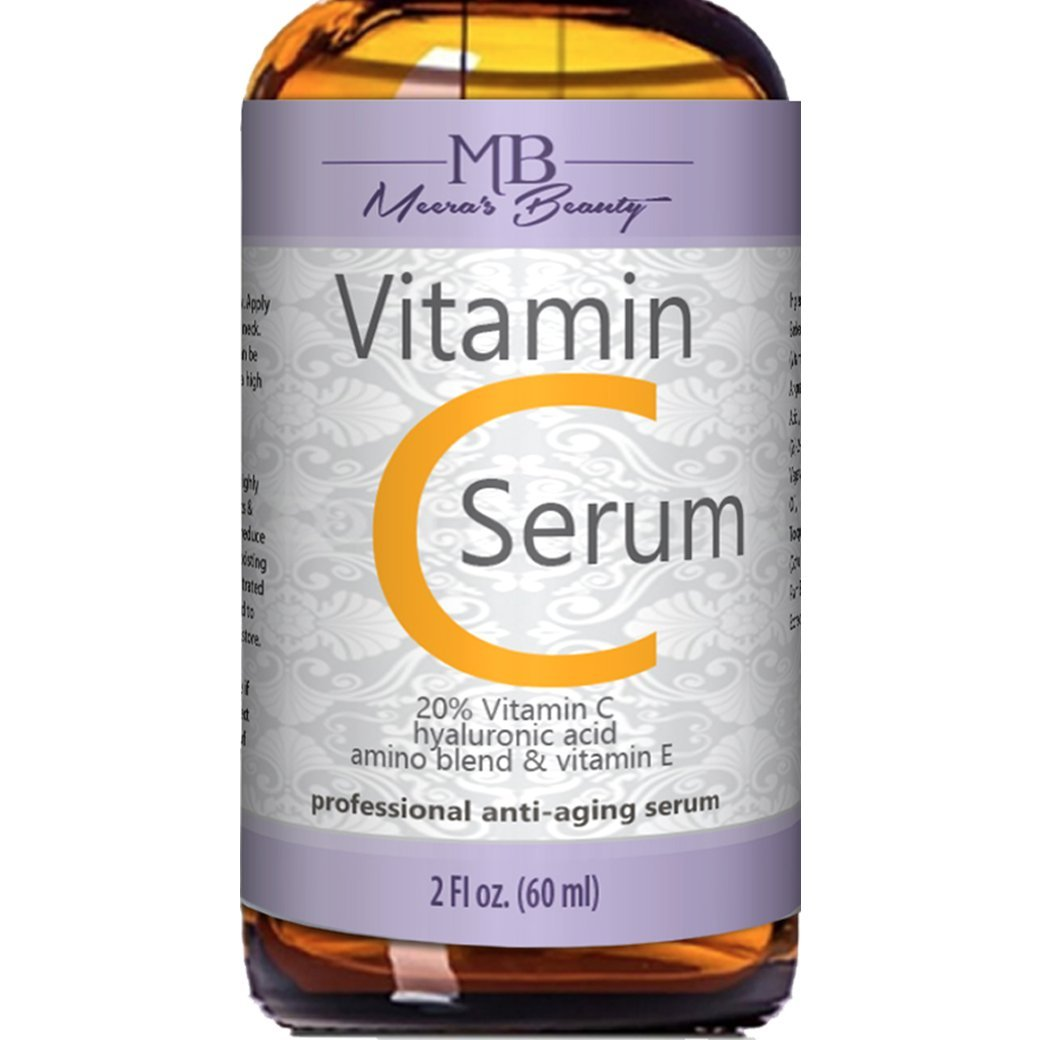 DOUBLE SIZED (2 oz) PURE VITAMIN C SERUM FOR FACE 20% With Hyaluronic Acid - Anti Wrinkle, Anti Aging, Dark Circles, Age Spots, Vitamin C, Pore Cleanser, Acne Scars, Organic Vegan Ingredients by meera's beauty