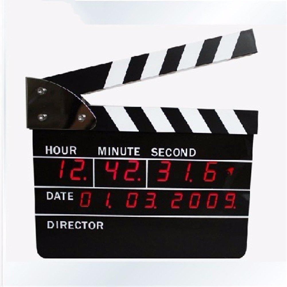 HQLCX Movie clock, clock, director clock, simple electronic LED alarm clock, calendar wall clock