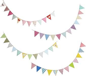 WELLXUNK Bandera Banderín, 65.6 Feet Banderines Fiesta 48 Pieza Bandera de Triángulo Decoraciones Banner para Boda Cumpleaños Fiesta al Aire Libre Jardín Cuarto del Bebé: Amazon.es: Juguetes y juegos