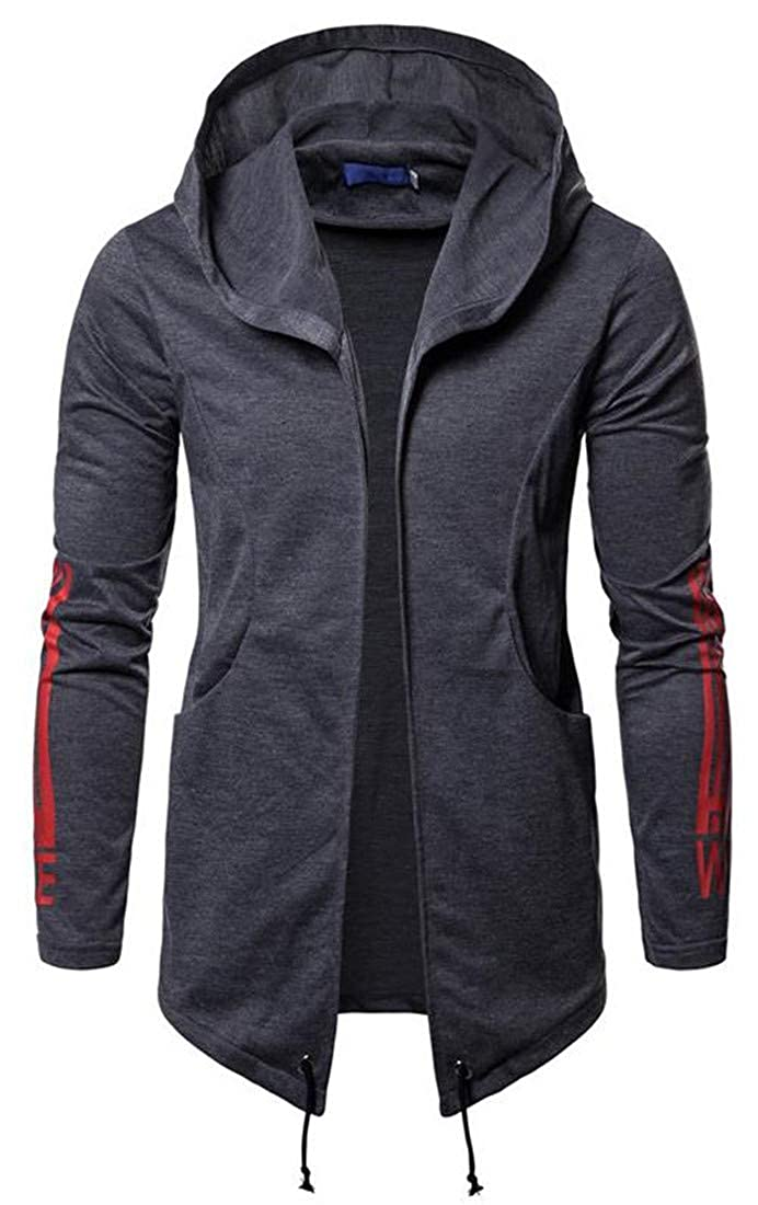 Lutratocro Mens Open Front Printed Hooded Casual Cardigan Sweatshirt Outwear