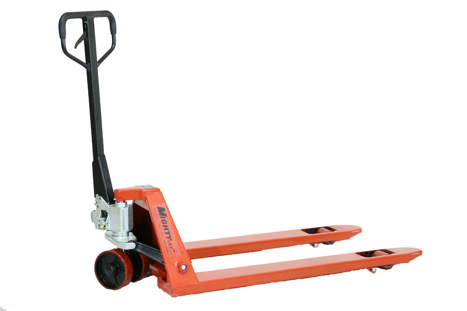 Mighty Lift ML55C Heavy Duty Pallet Jack Truck, Wheels, Polyurethane on Steel, 50'' Height, 27'' Width, 48'' Length, 5500 lb. Load Capacity, Orange