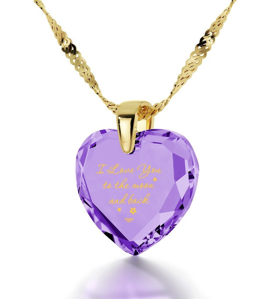Gold Plated Heart Necklace I Love You to The Moon and Back Pendant 24k Gold Purple Cubic Zirconia, 18'' by Nano Jewelry (Image #1)