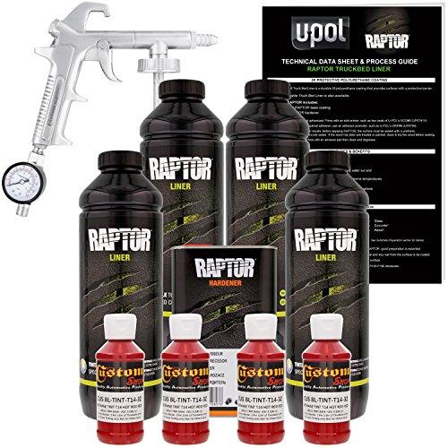U-Pol Raptor Hot Rod Red Urethane Spray-On Truck Bed Liner Kit w/Free Spray Gun, 4 Liters