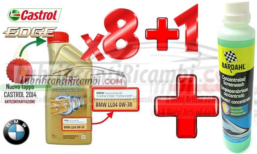 Set de 8 envases de 1 litro de aceite de motor Castrol Edge Titanium Professional BMW LL04 ACEA C3 de viscosidad 0W-30 + líquido limpiaparabrisas ...