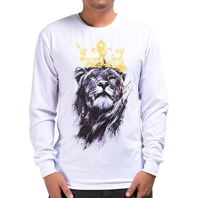 Rawdah Sudaderas Hombres con Capucha Otoño Invierno Casual 3D Imprimir León  Hip Hop Manga Larga Pullover Blusa Superior Sudaderas Hombre  Amazon.es   Ropa y ... 22996932fec