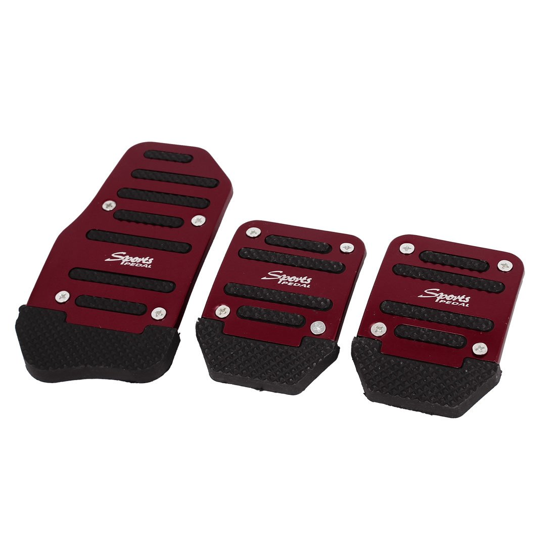 Sourcingmap 3pcs Burgundy Black Nonslip Gas Clutch Brake Pedal Pad Covers for Auto Car