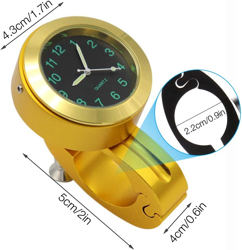 Gold Billet Aluminum Motorcycle Watch for Most of the Motorcycle//Street Bike Universal Waterproof Motorcycle Watch IWILCS Motorcycle Handlebar Clock