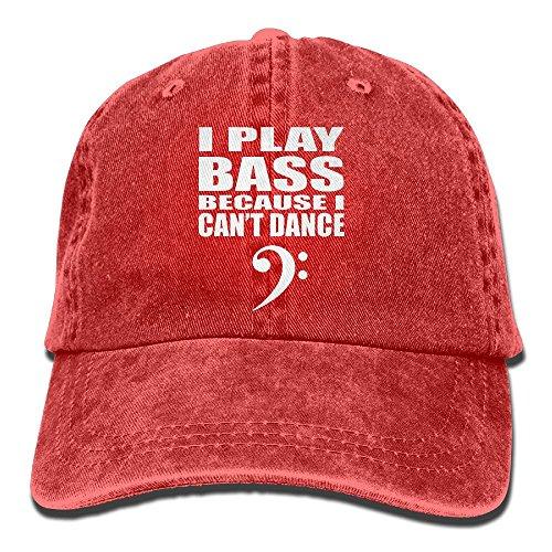 E-Isabel Play Bass Becuase I Cant Dance Adjustable B-Boy Cotton Washed Denim Hats Red (I-amp Lens)