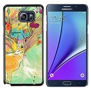 LECELL--Funda protectora / Cubierta / Piel For Samsung Galaxy Note 5 5th N9200 -- Patrón psicodélico ciervos --
