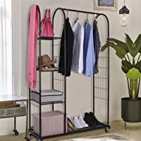 Mythinglogic Heavy Duty Clothing Garment Rack with Wheels, Rolling Closet Organizer with 3 Tier Storage Shelves