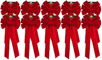 """Christmas Holiday Giant Red Velvet Bows 10 Bows 26/"""" Long 10/"""" Wide"""