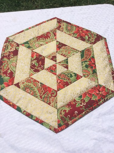 Glittery Christmas Centerpiece Quilted Table Topper Gold Outlined Fabric Homemade Quilt Hexagon End Table (Centerpieces Christmas Homemade For)