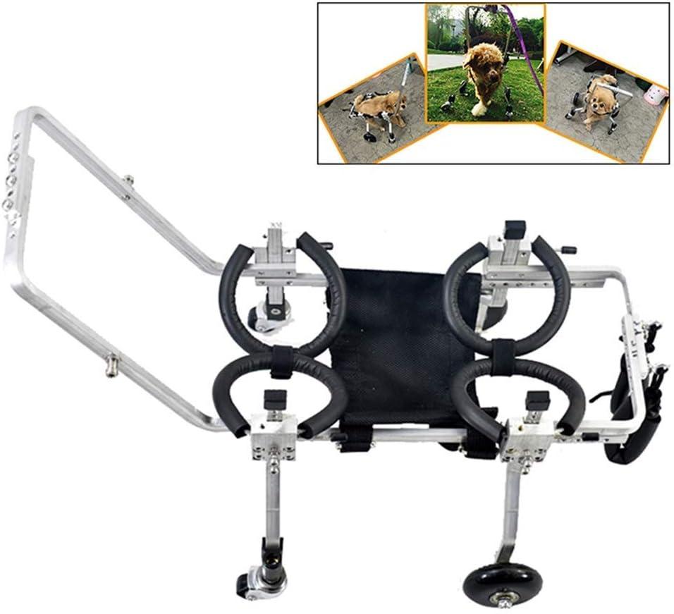 AMITD - Silla de ruedas para perro, muy ligera, ajustable con 4 ruedas, para discapacitados, para pasear a perros, de aleación de aluminio, compatible con mascotas de 35 a 75 kg